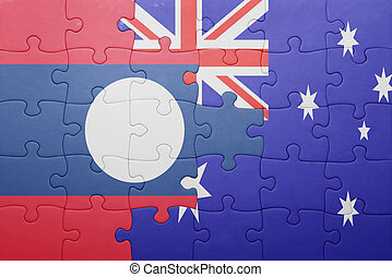 puzzle with the national flag of laos and australia