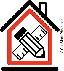 Architectural design conceptual symbol, simple house icon...