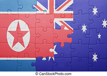 puzzle with the national flag of north korea and australia...