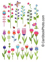 Vector tulips and bluebell Set