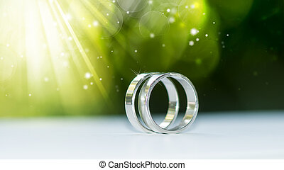 Beautiful background with wedding rings.