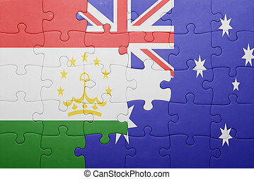 puzzle with the national flag of tajikistan and australia...