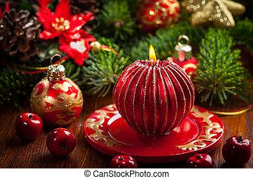 ろうそく, ボール, クリスマス