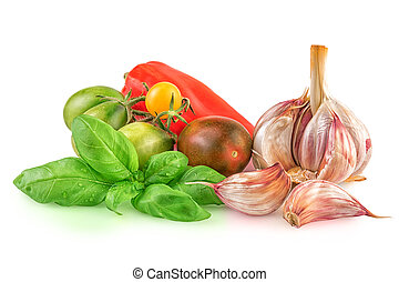 Garlic Tomatoes Basil Leaf for Cooking