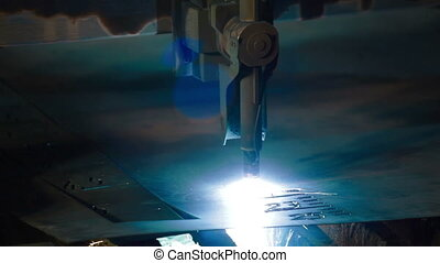 Industrial laser or plasma cutting metal sheet - Industrial...