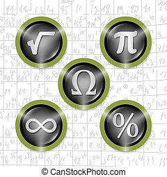 Set of five icons with symbols of math
