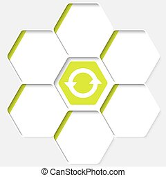 Set of five hexagons for your text and a arrows