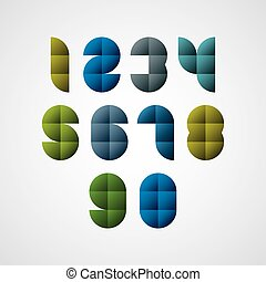 Geometric modern style numbers made with squares - Geometric...