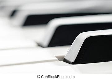 Piano Keys close up black & white