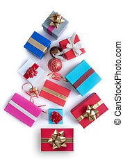 Gifts in the shape of a christmas tree