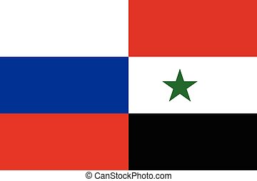 Russian and Syrian flags together - Russian and Syrian flags...