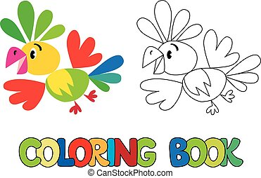 Coloring book of funny parrot - Coloring book or coloring...