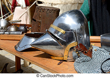 The Medival Knights helmet in Mdina, Malta