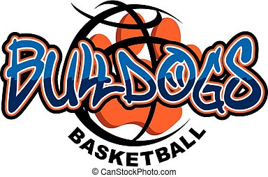 bulldogs basketball team design with large paw print inside...