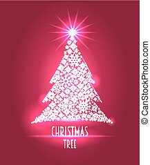 Christmas background or template with Christmas tree made from snowflakes, vector illustration. Can be used to design posters, post card.