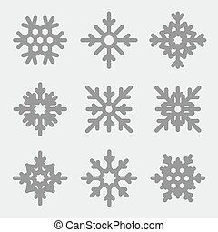 Vector snowflakes set. Snowflakes icons on gray background.