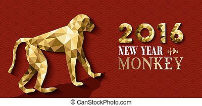 2016 happy chinese new year monkey gold low poly - 2016...
