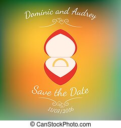Vector wedding golden ring in a red box over colorful blurred background.