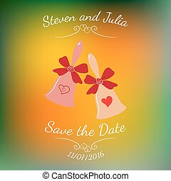 Vector wedding bells with hearts and bow over colorful blurred background.
