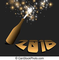 2016 - happy new year with champagne bottle