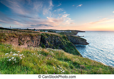 Sunset over Port Isaac - Sunset from cliffs above Port...