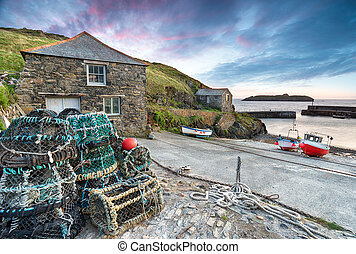 Sunset at Mullion Cove, a small fishing village on the...