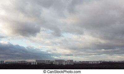 Time lapse of city and clouds. December in Moscow