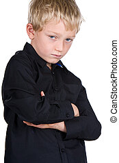 Young Blonde Boy with Crossed Arms - Shot of a Young Blonde...