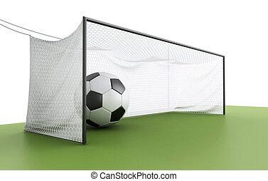 3d soccer ball in a net