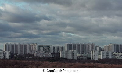 Moscow buildings and clouds - Timelapse of big city life....
