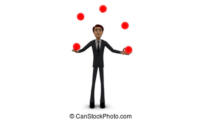 3d man juggling with balls concept