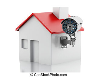 3d House with security CCTV camera. - 3d illustration. House...