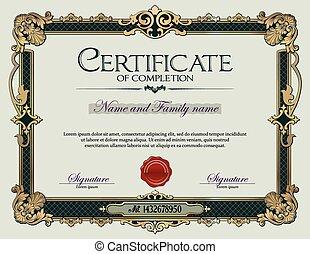 Antique Vintage Ornament frame Certificate of Completion.eps