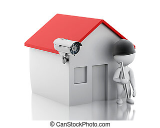 3d House with security CCTV camera. - 3d illustration. White...