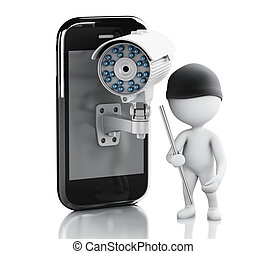 3d white people thief. Smartphone with Security CCTV camera