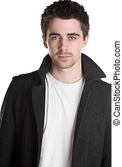 Handsome Dark Haired Male in Jacket - Isolated Shot of a...
