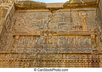Persepolis royal tombs relief - Royal tombs relief ruins on...
