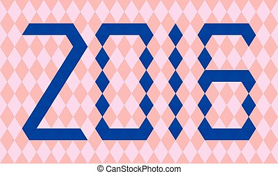 Blue numbers of year 2016 made from triangles