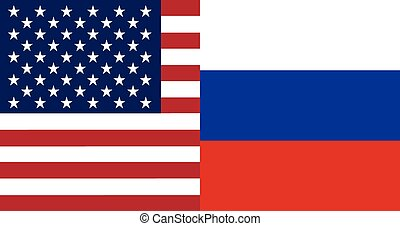 American and Russian flags together