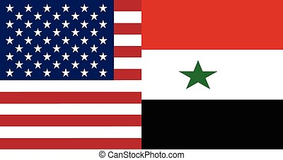 American and Syrian flags together in correct colors