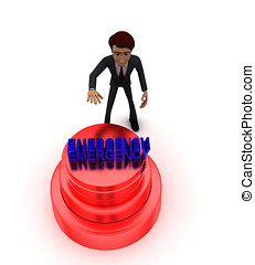 3d man about to press red emergency concept