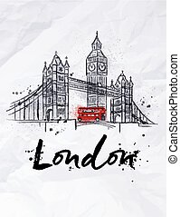 Poster London skyscrapers Tower Bridge and Big Ben drawing...