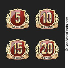 Golden Red Anniversary Badge 5th