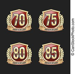 Golden Red Anniversary Badge 70th - Gold and Red Anniversary...