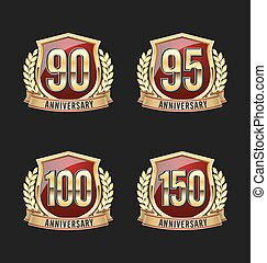 Golden Red Anniversary Badge 100th - Gold and Red...