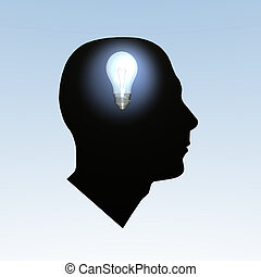 Bulb Brain - Light bulb turning on inside a head