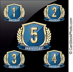 Golden Blue Anniversary Badge 1st - Gold and Blue...