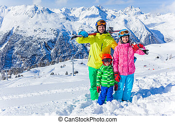 Happy family on ski