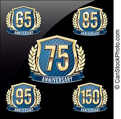 Golden Blue Anniversary Badge 150th - Gold and Blue...