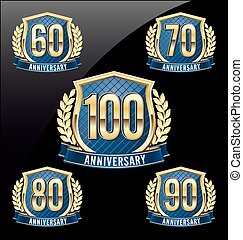 Golden Blue Anniversary Badge 100th - Gold and Blue...